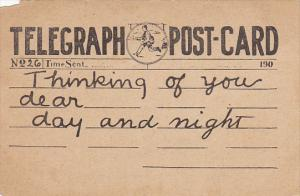 Telegraph Postcard Thinking Of You Dear