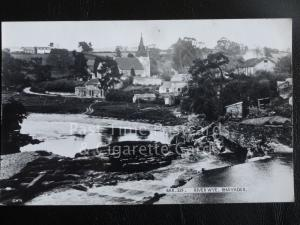 Radnorshire RHAYADER Village & Church from The River Wye - Old RP PC by Frith