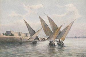 LUXOR , Egypt , 00-10s , Sailboats at Winter Palace Hotel