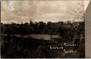 RPPC U.S. Canada Border Looking South Vintage Postcard E21