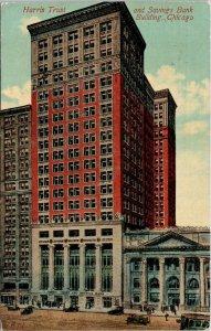 Chicago Illinois~Harris Trust & Savings Bank~West Monroe Street~1913 Postcard