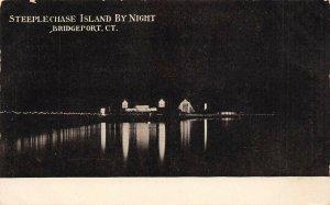 LP08 Bridgeport Connecticut Postcard Steeplechase Island by Night