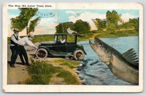 The Way We Catch Them in York Beach Maine~Exaggerated Fish~Car Two~1932
