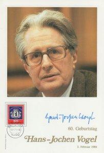 Hans Jochen Vogel German Politician Official Hand Signed Photo