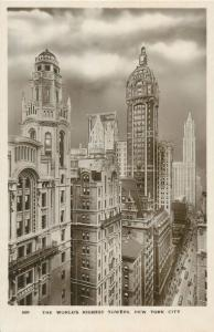 New York City world`s highest towers real photo postcard