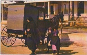 Amish Mother w/ 2 Small Daughters in Horse & Buggy, Pennslyvania Dutch Country