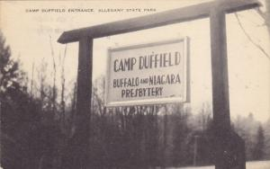 CATTARAUGUS COUNTY, New York, PU-1948; Camp Duffield Entrance, Allegany State...