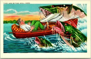 1940s Fishing EXAGGERATION Comic Postcard Biting Well Here LINEN / Unused