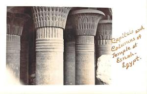 Capitals & Columns Temple at Esnah Egypt Real Photo RPPC Postcard