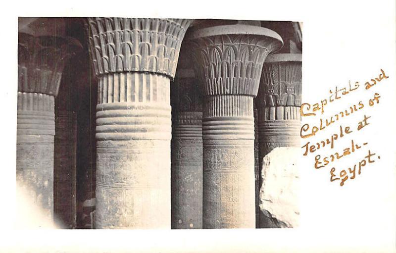 Capitals & Columns Temple at Esnah Egypt Real Photo RPPC Postcard