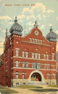 Lansing Michigan~Masonic Temple~Where Masons Have Dances~1916 Postcard