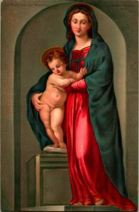 Madonna Mary and Child Jesus -  By Stengel & Co No 29779 Litho - Religious