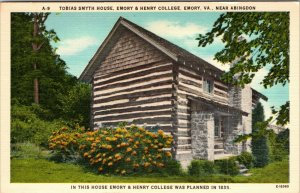 EMORY, VA  Virginia  EMORY & HENRY COLLEGE Tobias Smyth House LINEN Postcard