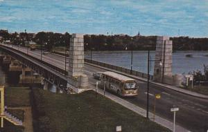 Bus on Duplessis Bridge , Trois-Rivieres , Quebec , Canada , PU-1969