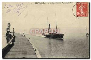 Old Postcard Honfleur Arrival of Steamer Francois I.