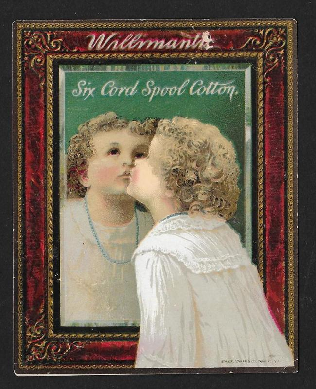 VICTORIAN TRADE CARD Willimantic Thread Girl Kissing Mirror