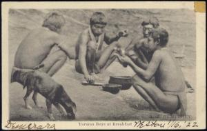 british guiana guyana, Native Taruma Indian Boys at Breakfast (1922)