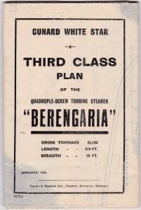 Cunard White Star Third Class Plan of Ocean Liner BERENGARIA , 1935