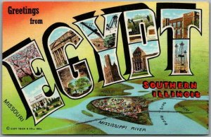 1940s EGYPT Southern Illinois Large Letter Postcard Cairo / Mississippi River