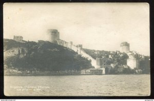 dc993 - TURKEY Bosphorus 1920s View of Castles from Sea. Real Photo Postcard
