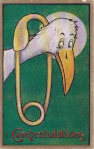 Birth Stork With Giant Safety Pin Congratulations 1910