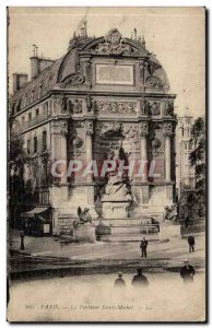 Paris Old Postcard Fountain St. Michel