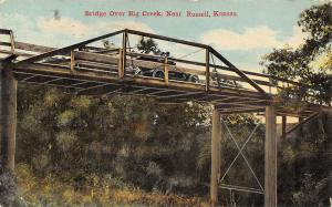 Russell Kansas~Wagon Bridge Over Big Creek~Vintage Car on Top~1911 Postcard