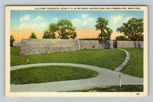 Cumberland MD-Maryland, Old Fort Frederick, Linen Postcard