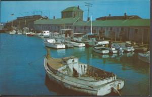 Vintage Postcard USA Scallop BOATS at Straight Wharf NANTUCKET Island