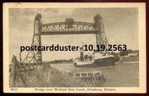 2563 - ALLANBURG Ontario 1930s Bridge Over Welland Ship Canal. Steamer by Leslie