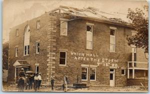 1909 Vintage RPPC Real Photo Postcard UNION HALL AFTER THE STORM City Unknown
