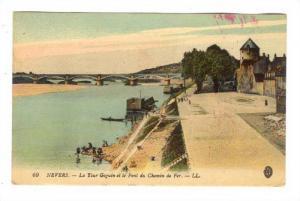 La Tour Goguin Et Le Pont Du Chemin De Fer, Nevers (Nièvre), France, PU-1918