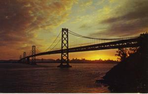 Bay Bridge at sunset, San Francisco, Oakland CA. California USA Postcard