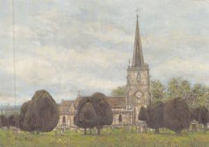 Postcard Art Painswick, Gloucestershire, Cotswolds by Pat Bell Large 170x120mm