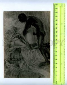 207929 sex naked couple in bed BLACK MAN old photo card