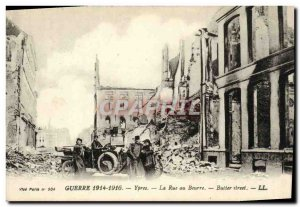 Old Postcard The Ypres War Militaria Automobile Rue au Beurre