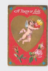 ANTIQUE POSTCARD VALENTINE CUPID FLIES HOLDING HEART ON FIRE WITH ROSES AND HEAR
