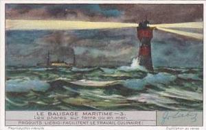 Liebig Vintage Trade Card S1343 Warnings At Sea No 3 Les phares sur terre ou ...