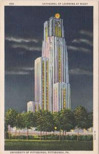 Pennsylvania Pittsburgh Cathedral Of Learning At Night University Of Pittsbur...