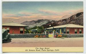 The Sage Hotel Palm Springs California linen postcard