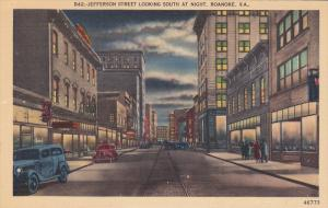 Jefferson Street looking South at Night, Roanoke, Virginia, 30-40s