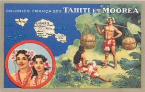 Oceania French Colonies Tahiti & Moorea map native beauties Lion Noir trade card
