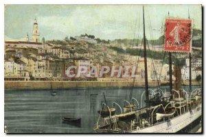 Old Postcard Menton harbor boat