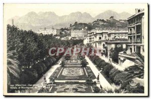 Old Postcard Menton General view of the Gardens Hotels and Mountains of Sta A...