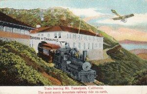 MT. TAMALPAIS, California, 1916; Train leaving The Tavern, Airplane