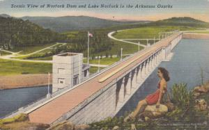 Scenic view of Norfork Dam and Lake Norfork in the Arkansas Ozarks, 30-40s