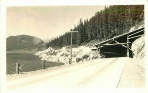 Ellis Sunset Highway Lake Keechelus Tunnel 1930s RPPC Washington Postcard 5707