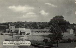 Tracy's Motel US 40 West of Wheeling WV Old Postcard