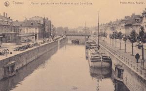Tournai L'Escaut quai Marche aux Poissons St Brice Boats Belgium Postcard
