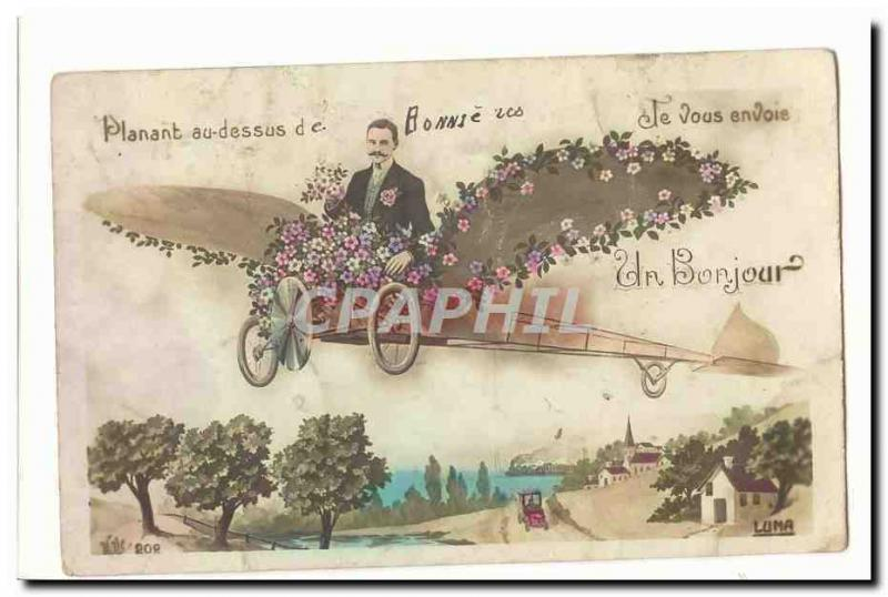 Vintage Postcard Planing with the top of Bonniers I send a hello (plane) to you